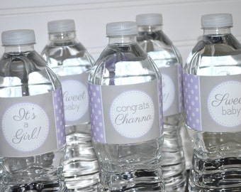 Girls Baby Shower Water Bottle Labels - It's A Girl Baby Shower Decorations - POLKADOTS - Purple and Gray - Set of 10