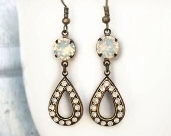 1940s Wedding Jewelry - Opal Wedding Earrings - White Opal Earrings - Delicate Wedding Earrings - Open Hoop Earrings - Multistone Jewelry