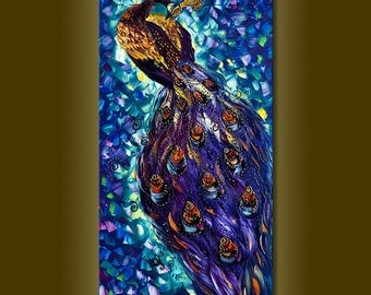 Peacock Oil Painting Textured Palette Knife Contemporary Modern Original Animal Art 20X40 by Willson Lau