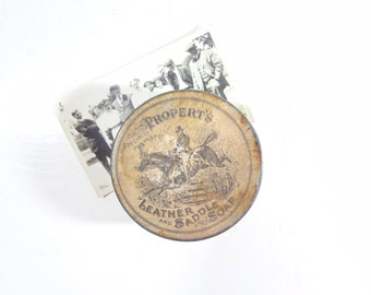 Vintage Propert's Leather and Saddle Soap Tin Box / Rustic Decor