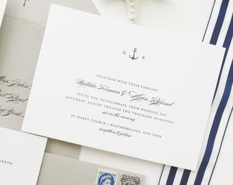 Nautical Wedding Invitation Sample - Natalie | Navy Wedding Invitations | Blue Wedding Invites | Anchor Wedding Invitations