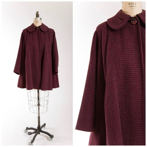 40s Vintage Swing Coat Red Black Houndstooth Wool Vintage