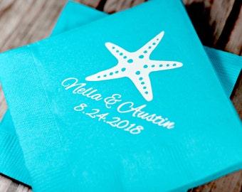 Beach Wedding Napkins, Cocktail Napkins, Personalized Napkins, Tropical Napkin, Cocktail Napkins, Beach Party Napkins, Starfish, Beach, 1100