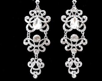 """Long chandelier earrings ~ Crystal statement earrings ~ 4""""~ Wedding earrings -Brides statement earrings-Crystal rhinestone earrings,ANGELINA"""