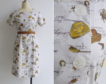 Vintage 40's Cowboy Giddy Up Novelty Print Cotton Dress S or M