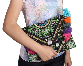 Fold Over Embroidered Fabric With Bells & Colorful Thread Thailand (BG306WH-47C11)