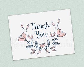 Printable Thank You Card, Wedding Thank You, Pink and Navy, Floral Card, INSTANT DOWNLOAD