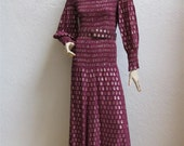 """1970's """"Oscar de La Renta"""" Wine And Gold Metallic Belted Couture Dress From Saks Fifth Avenue - Size XS - S"""