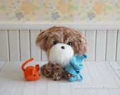 fuzzy puppy dog, kawaii amigurumi shihtzu shih poo brown puppy, crochet stuffed plush dog, mini orange mouse