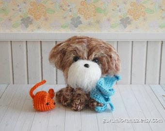 fuzzy puppy dog, kawaii amigurumi shihtzu shih poo brown puppy, crochet stuffed plush dog, mini orange mouse
