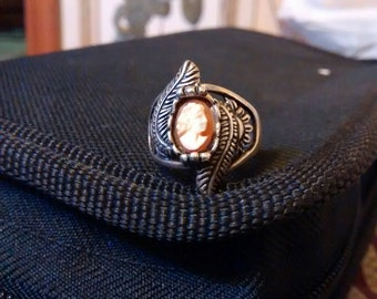 Sterling Silver Antique Cameo Carved  Ring ...Antique Beauty  Size  5 1/2