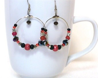 Red, Black & Purple Hoop Earrings - Large Beaded Hoop Earrings, Boho Earrings, Nickle-Free Earwires, Handmade in the USA, Ready to Ship