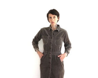 90s vintage corduroy button up dress// shirt dress midi dress// small medium
