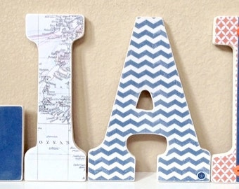 Boy Nursery Letters, Navy Blue and Orange Nursery Decor, Wooden Letters, Wall Letters, Baby Shower Gift, any color any theme
