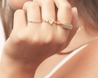 Gold Heart ring love ring dainty gold filled ring delicate jewelry.