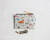 Animal coin purse, forest zipper pouch, small cosmetic organizer