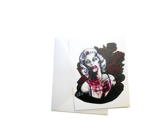 "Zombie Marilyn, note card, original art, greeting card, 4.25"" x 5.5"", halloween stationary, Marilyn Monroe, zombie card, undead, living dead"