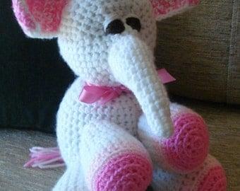 """Crocheted elephant stuffed animal doll toy """"Ella"""""""