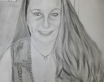 "14""x17"" Personalized Custom Photo Realistic Portrait from Photo. Custom Portrait, Pencil Portrait, Family Portrait. Mother's Day gift."