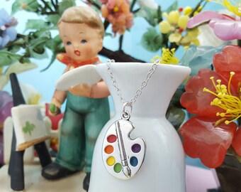Paint Palette Pendant, Art Teacher Gift, Gift For Painters, Painter's Palette, Gift For Artist, Paintbrush Necklace, Artist Gift, Art, S1043