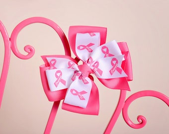 """Large 4"""" breast cancer awareness hair bow hairbow"""