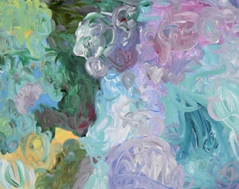 """Abstract Painting Original Acrylic Free Shipping Lavender Blue Green Pink Floral 9"""" x 12"""" Modern Wall Art"""