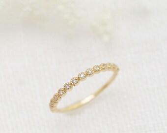 diamond half eternity ring, 14k gold, rose gold, white gold, delicate wedding band, 1/2 eternity wedding ring, 2mm band, dal-r105-1mm