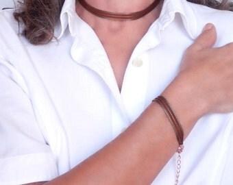 Unique Bracelet & Choker Set. Elegant Set. Rose Gold Set. Brown Mokuba Ribbon. Victorian Jewelry. Ribbon Bracelet Choker. Bridesmaid Set.