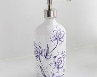 Glass soap dispenser - light purple white hand painted soap pump, lotion, shampoo dispenser
