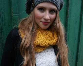Handmade Crochet Slouch hat with coconut button