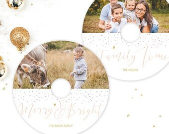 Christmas CD DVD Label Template - Christmas Photography - Holiday Photography Template - Photoshop Templates - X003 - instant download
