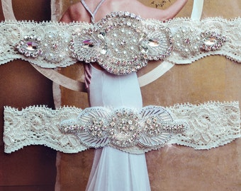 Ivory Lace Bridal garter Set, Ivory Lace Wedding Garter Set, Ivory Bridal Garter, Ivory Wedding Garter, Rhinestone Garter-Grace Style 105