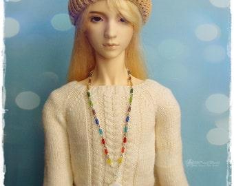 OOAK SD, SD+ jewelry, necklace, pendant, 1/3 bjd, dollfie - Rainbow Flower #5