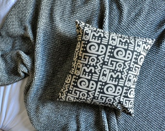 Hieroglyphics Cushion Cover, Throw Pillow Cover, Throw Cushion Cover, Decorative Cushion Cover, Decorative Pillow Cover - Charcoal Dark Grey