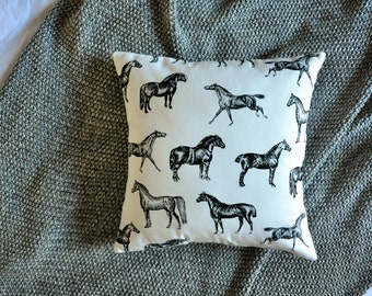 Horse Cushion Cover, Throw Pillow Cover, Throw Cushion Cover, Decorative Cushion Cover, Decorative Pillow Cover - Black & White