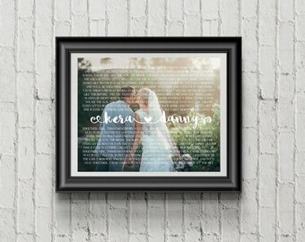 Custom PRINTABLE Wedding Vows/Song Lyrics and Wedding Picture Art Print with Calligraphy, Heart & Swirls