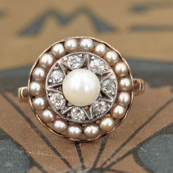 Victorian Pearl Diamond Engagement Ring Unique Engagement