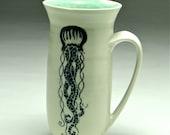 Jellyfish coffee mug/ tall handmade mug/ large ceramic porcelain/ hand thrown sgraffito/ nautical tentacle/ black white aqua/ large tea cup