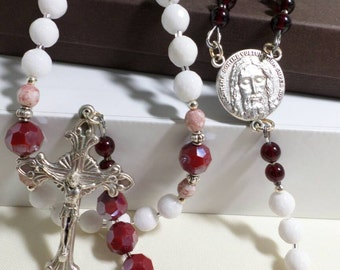 "Handmade Chaplet of the Holy Face,  ""Flesh and Blood of the Holy Face"""