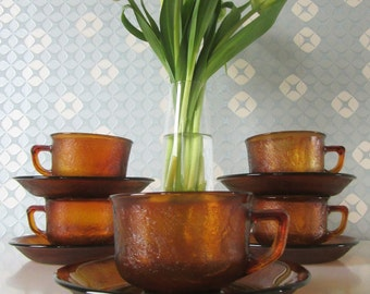 Five Vintage Glass Cup and Saucers Yellow or Amber Sierra by Arcoroc 70s