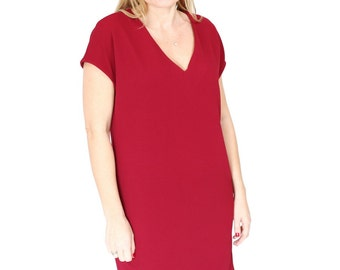 Red wine plus size Loose oversized dress Maternity casual Tunic Dress Summer day dress with V neck.