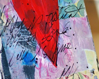 RESERVED Art Heart Mixed Media Painting, Original Acrylic Art, Wall Art, Abstract Art, Featured in Somerset Studio Gallery
