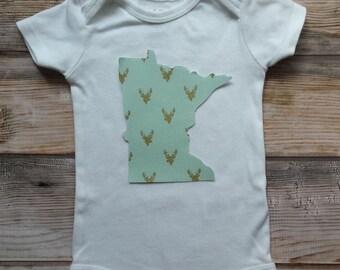 Minnesota Onesie-Custom State Pride Onesie-MN Baby Girl Gift-Cute Baby Girl Onesie-New Baby Girl-MN Baby Girl Shower Gift-MN Bodysuit