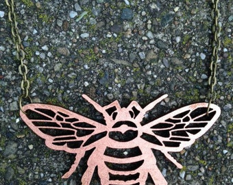Bee Necklace Bronze Laser Cut