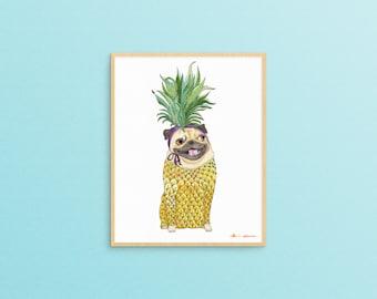 Pineapple Decor Gift, Pug Dog Lover Art Gift, Pineapple Wall Art, Pug Decor,Dorm Decoration,Dog Lover Gifts For Women,Funny Animal Art Print