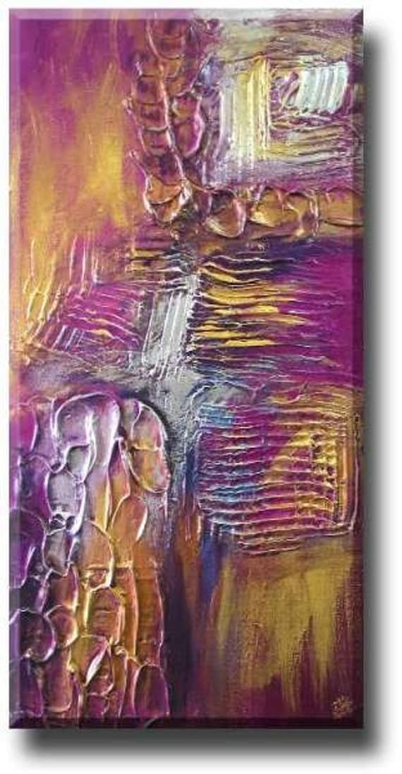 "art commission 18""x36"" YINART Acrylic abstract art on canvas -Dragon Pulse -clay texture, gold, silver, chosen background colour"