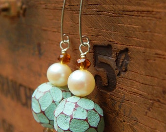 Mosaic Pearl Earrings - Luminous Vintage Pearls w Artist-Made Clay Beads & Handmade Sterling Silver Ear Wires / Proceeds Aid Kids w Autism