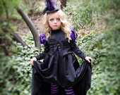 Witch Tights for Girls in Black and Purple stripes, Striped Wicked Witch Tights