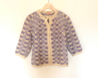 Mohair Purple White Check Cardigan Handmade in Italy Vintage Womens Small