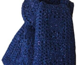 Hand Knit Scarf - Blue Tweed Checkerboard Wool